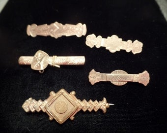 Group of Victorian Etched Bar Pins