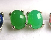 7x5mm Green Chrysoprase Cabochon Sterling Silver Earrings