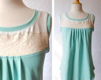 Women's Lace Yoke Tank Top Pleat front scoop neck blouse loose fit cotton jersey sleeveless shirt womens summer top Aqua Cream Made to Order