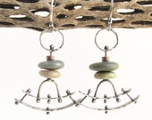 Orpheus Pendulum Sterling Silver Copper and Beach Stone Earrings - Metalsmith - Rachel M Post