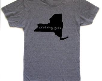 new york tshirt, state pride tshirt, unisex, neutral, silkscreened tshirt, graphic tshirt, witty tshirt, men's gift ideas, free ship