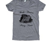 Books Forever Party Never T-Shirt - Books Bookworm - Ladies SOFT American Apparel Shirt - Available in sizes S, M, L, XL