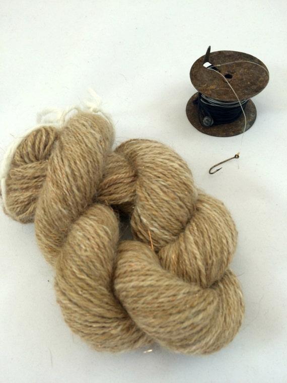 Alpaca Yarn with Gold Glitter, Handspun, Fingering Weight Wool, 190 Yards, 174 Meters