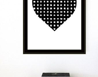 Black and White Screenprint Woven Heart - Silkscreen Art Print Graphic Basket Texture Minimalist Modern Heart Print
