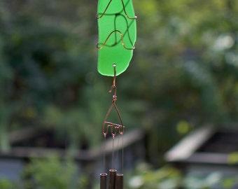 Wind Chime Emerald Green Glass Copper Brass Outdoor Windchimes