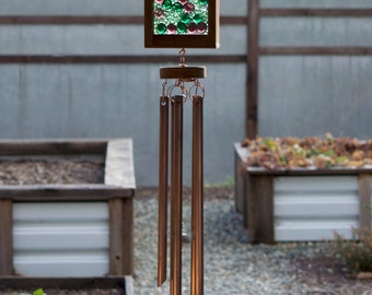 Copper Wind Chime, Green, Lilac  Glass Suncatacher Windchimes
