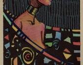 Framed Linocut Art Deco W...