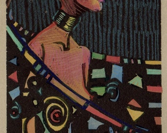 Framed Linocut Art Deco Woman Print Winged Belinda Del Pesco