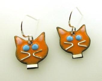 Cat Earrings, cat jewelry, crazy cat lady jewelry, black, white, orange or yellow cat earrings, cat lover earrings by Kathryn Riechert