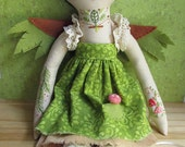 RESERVED  for Trina Embroidered cloth forest fairy doll Fern