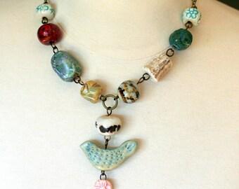 bird necklace, ceramic jewelry, artistic necklace, deer horn, boho jewelry, bohemian necklace