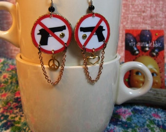 Gun Control Earrings Don't Shoot Give Peace a Chance Peace on earth choose love