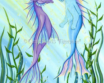 Cat Mermaid Art Sea Serpent Painting Purple Dragon Blue Mercat Whimsical Cat Art Print 12x16 Cat Lovers Art