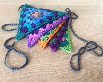 Bright and cheerful crochet bunting. Assorted rainbow colours. Seasonal decorations. Garden Party.