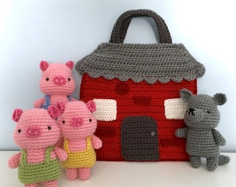 Amigurumi Crochet Three Little Pigs Playset Pattern Digital Download