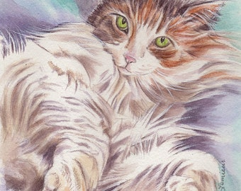 custom cat portrait original watercolor painting from your photo realistic lifelike pet memorial art