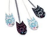 Day of the Dead Cat necklace  -  pearl acrylic laser cut necklace platinum black pearlised dia de los muertos jewellery