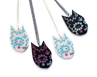 Day of the Dead Cat necklace  -  pearl acrylic laser cut necklace platinum black pearlised dia de los muertos jewellery