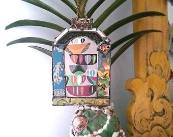 Mexicana Vintage Tin Frame, Wall Hanging Wall Decor, Boho, Rustic, Folk, Floral