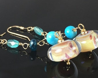 earrings- lampwork glass boro borosilicate beads - turquoise - apatite - gold filled