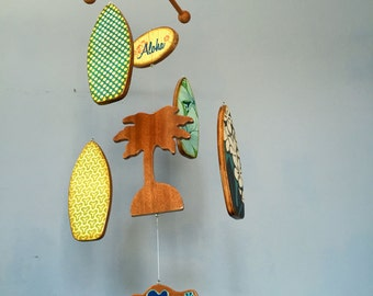 Baby Mobile - Surfboards - Palm Tree - Wooden Mobile for a Beach Themed Nursery