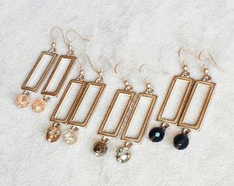 Geometric earrings, minimalist beige gold champagne patina earrings, modern earrings, rectangle earrings, contemporary earrings