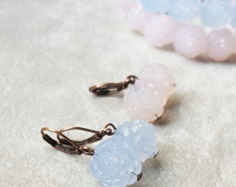 Vintage Lucite Roses earrings, Rose Quartz, Delicate dainty blue earrings, gift for wife, gift for best friend, gift for her, gift for mom