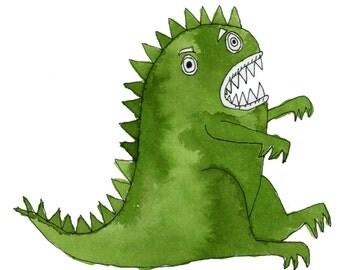 Square Greeting Card: Green Dinosaur
