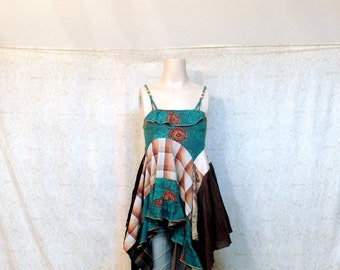 REVIVAL Women's Upcycled Boho Shirt, Shabby Chic Romantic Country Bohemian Junk Gypsy Style, Small to Medium Recycled Repurposed EcoFriendly
