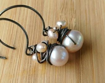 Pearl Earrings, Pearl Drop Earrings, Pearl and Silver, Single Pearl, June Birthstone, Pearl Sterling, Wire Wrapped, Peach, Cream, Bridal