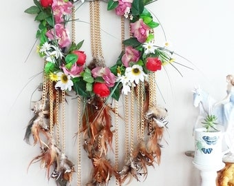 Flower Wreath~ FLORAL Dreamcatcher~ Shabby Chic Decor~ Home and Living~ Room Decor~ wall art~ Feather Decor~ Bohemian Decor~ Boho Chic Decor