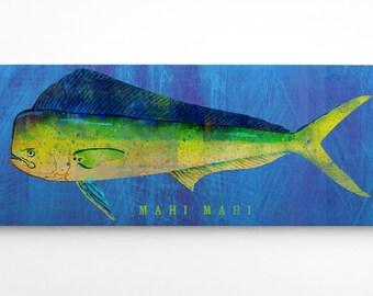 Fish Gifts for Husband- Home Gifts for Boyfriend- Gifts for Parents- Mahi Mahi Art Block- Beach Theme Bedroom- Fish Art- Mahi Mahi Print