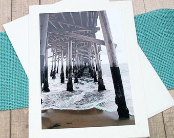 "Glitter Accents Under The Boardwalk Fine Art Photography Note Card, Newport Beach, Ocean, Water California, Water, All-Occasion - 5"" by 7"""
