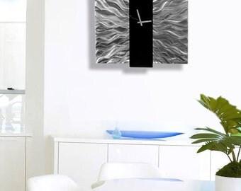 Silver & Black Modern Metal Wall Clock Contemporary Functional Art, Etched Timepiece - Elegant Mechanism by Jon Allen