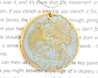 Ice Blue Dandelion Fluff Ceramic Clay Pendant with Wire Necklace