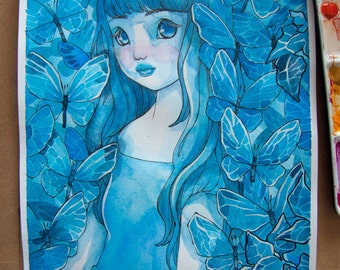 Ink and Watercolor Illustration - In the Garden of Blue Butterflies - Mori Girl - Whimsical - Watercolor - ORIGINAL - OOAK - Floral