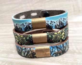Leather & Brass Bead Bracelet, with Digital Photo Print on 100% Genuine Leather, Trees, Mountain, Nature, Adjustable Size