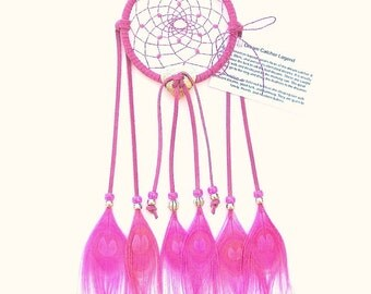 Fuchsia Dream Catcher, Peacock Eyes Feathers