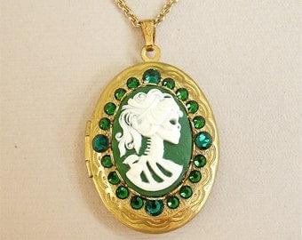 Lolita Day of the Dead Goddess Emerald Green Cameo Gold Locket;Halloween, Gothic Lolita, Gothic Victorian
