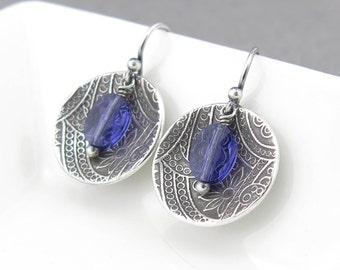 Tanzanite Earrings Crystal Earrings Silver Drop Earrings Bohemian Jewelry Silver Jewelry Gift Idea for Her - Contrast