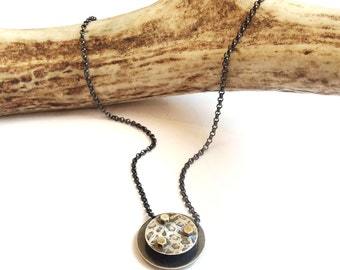 Layer Necklace - Embossed Silver Necklace with Tiny Brass Hardware - Handmade by Queens Metal