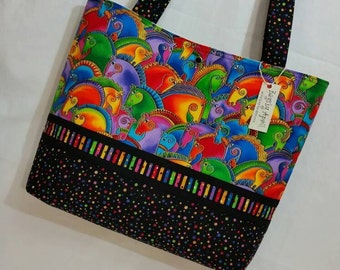 Laurel Burch FABRIC Mythical Horses purse tote bag