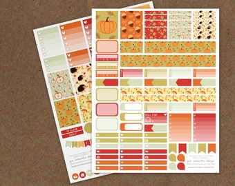 Printable Deluxe Pine Cone Autumn Weekly Planning Kit- Ombre Check Boxes, Icon Stickers, Pattern boxes - ECLP, MAMBI Happy Planner, Filofax