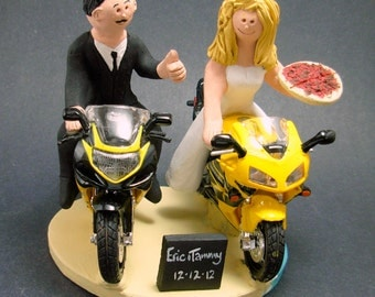 Sportbike Motorcycle for Bride and Groom Wedding Cake Topper,  Motorcycle Wedding Cake Topper, Motorcycle Riders Wedding Cake Topper