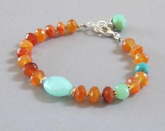 Peruvian Opal Carnelian Bracelet Sterling Silver Chrysoprase Turquoise Bead Gemstone DJStrang Boho Cottage Chic Fiery Orange Blue Stone