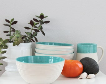 Turquoise Pottery Bowl - Groove Bowl in Turquoise - Teal Porcelain Bowl - Large Cereal Bowl