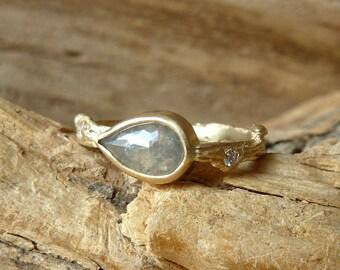 Rose Cut Pear Diamond Twig Ring - Deposit