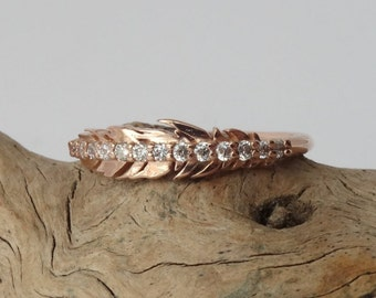 Diamond Feather Ring - Slim