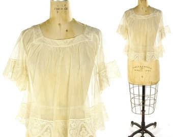 Antique Lace Blouse / Authentic Early 1900s Edwardian Sheer Net Blouse / Babydoll Negligee