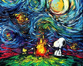 Snoopy Woodstock Art CANVAS print campfire Starry Night van Gogh Never Roasted Marshmallows Aja 8x8 10x10 12x12 16x16 20x20 24x24 30x30